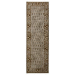 Rug & Kilim's Hand Knotted Boteh Runner Beige-Brown and Blue Classic Rug