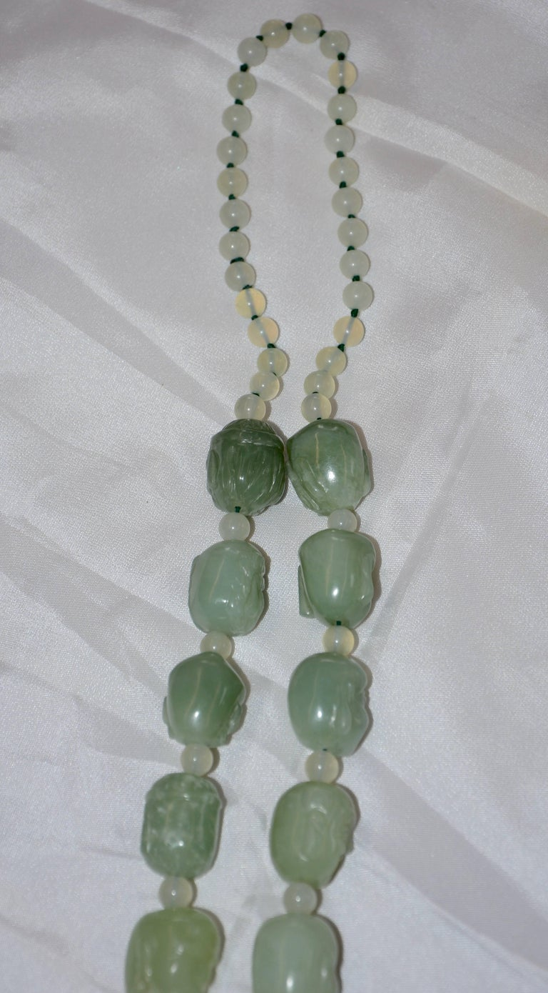 Metal Bowenite Carved Budai Beaded Necklace For Sale
