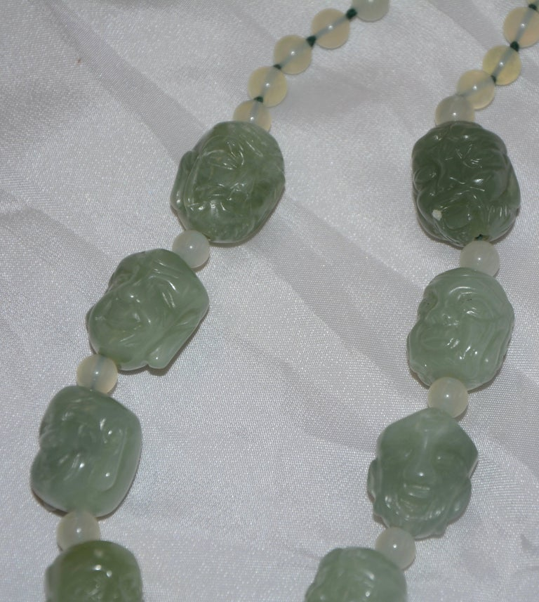 Bowenite Carved Budai Beaded Necklace For Sale 1