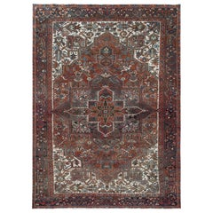 Hand Knotted Brick Red Persian Heriz Old Sheared Low Natural Wool Rug
