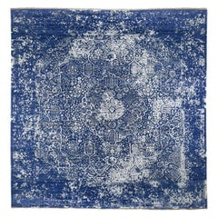 Hand Knotted Broken Persian Design Wool and Silk Square Rug