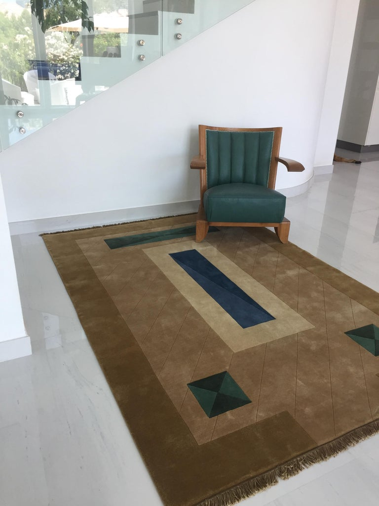 Modern Hand Knotted Brown New Zealand Wool Rug by Cecilia Setterdahl for Carpets CC For Sale