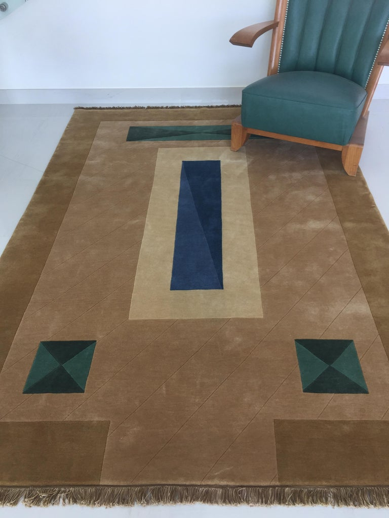 Indian Hand Knotted Brown New Zealand Wool Rug by Cecilia Setterdahl for Carpets CC For Sale