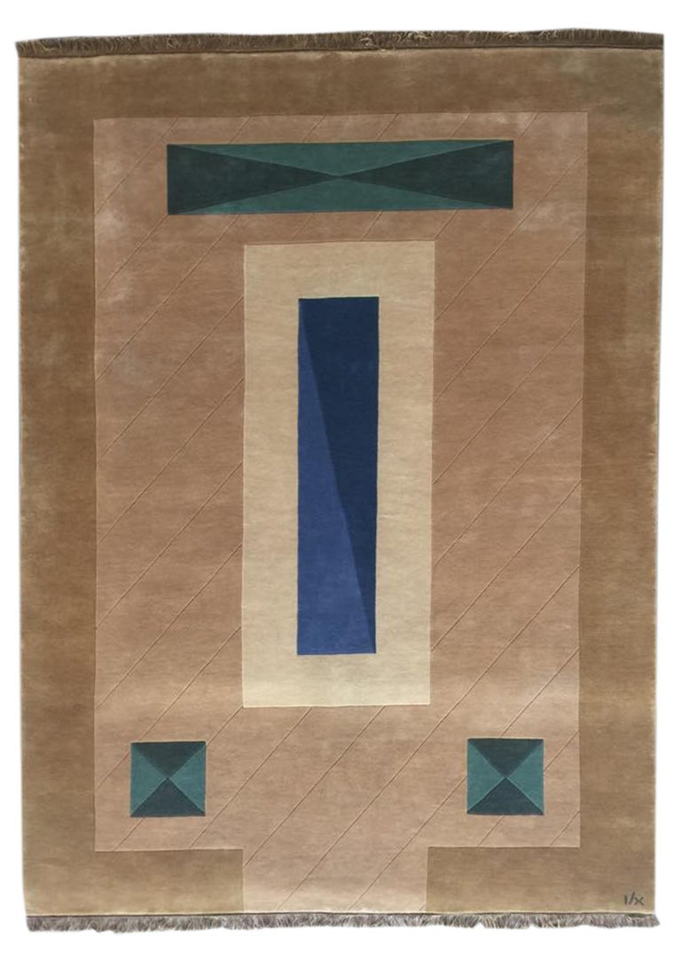 Hand Knotted Brown New Zealand Wool Rug by Cecilia Setterdahl for Carpets CC In New Condition For Sale In Dubai, AE