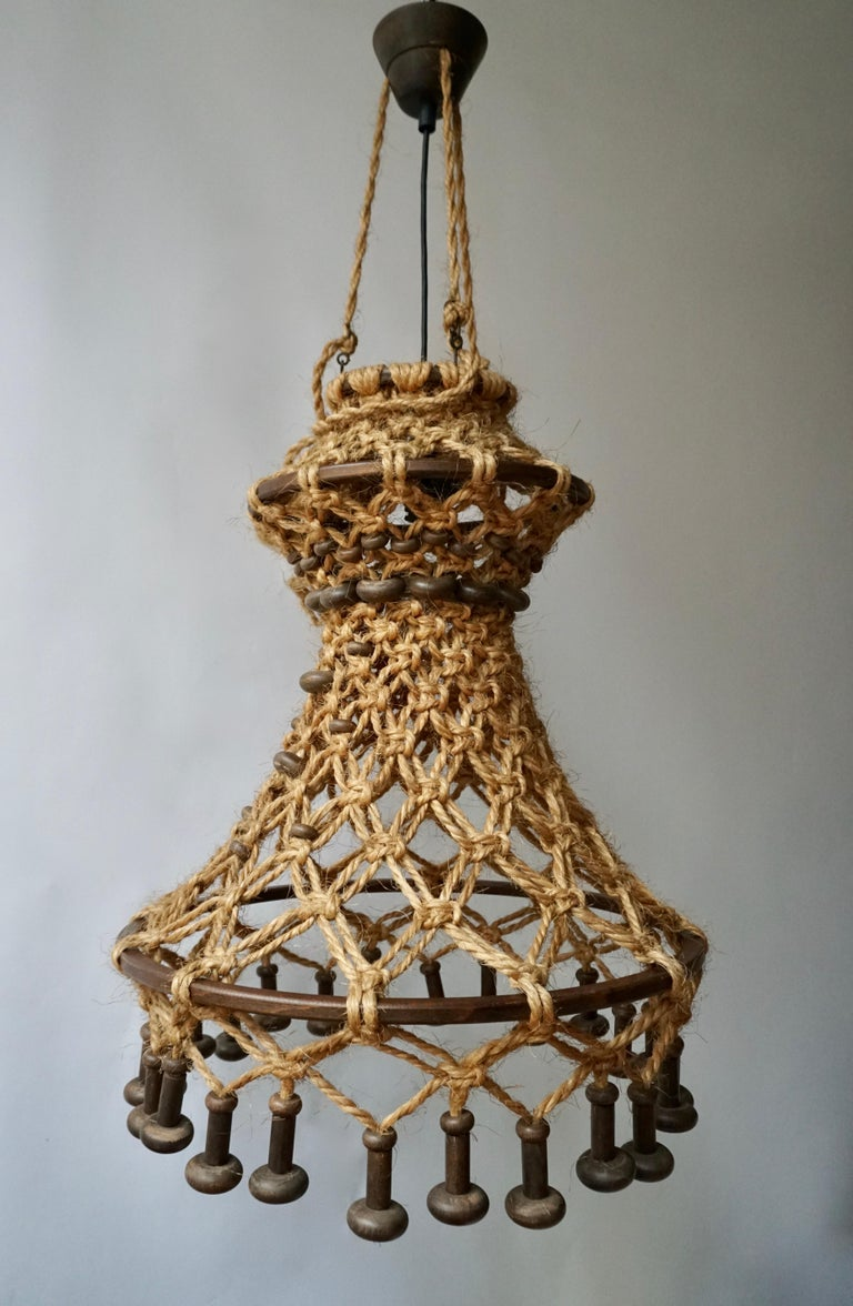 Hand Knotted Chandelier with Natural Rope and Wood For Sale 4