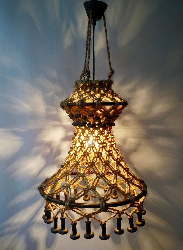 Hand Knotted Chandelier with Natural Rope and Wood For Sale 5