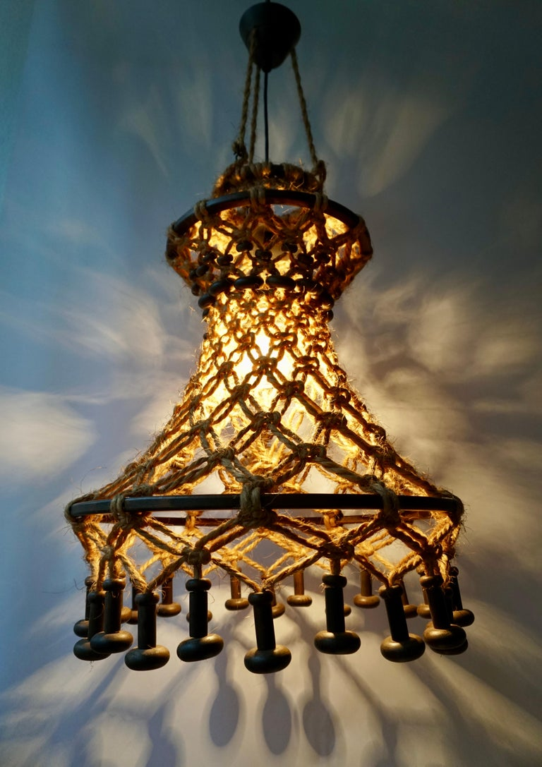 Hand Knotted Chandelier with Natural Rope and Wood For Sale 6