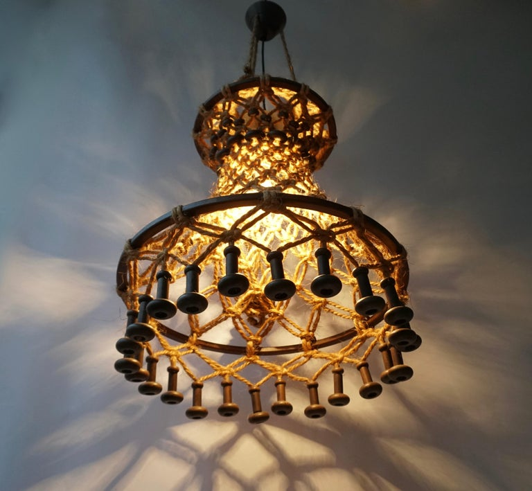 Hand Knotted Chandelier with Natural Rope and Wood For Sale 7