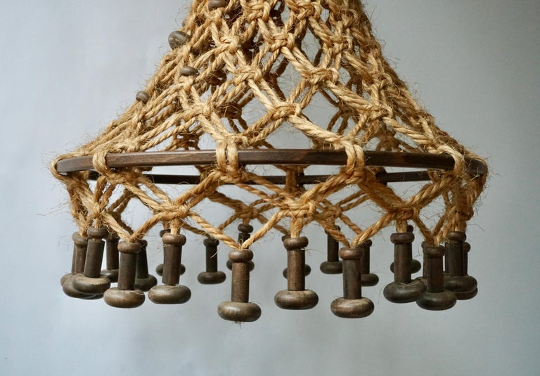 Hand Knotted Chandelier with Natural Rope and Wood For Sale 8
