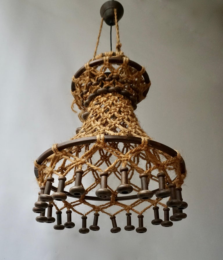 Hollywood Regency Hand Knotted Chandelier with Natural Rope and Wood For Sale