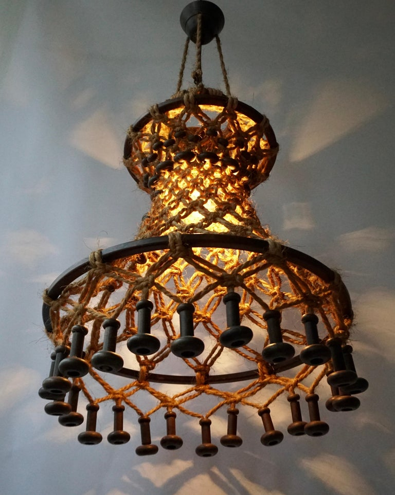 Belgian Hand Knotted Chandelier with Natural Rope and Wood For Sale