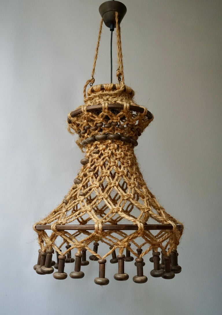 20th Century Hand Knotted Chandelier with Natural Rope and Wood For Sale