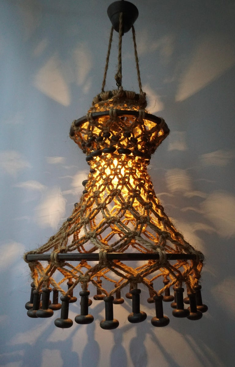 Hand Knotted Chandelier with Natural Rope and Wood For Sale 1