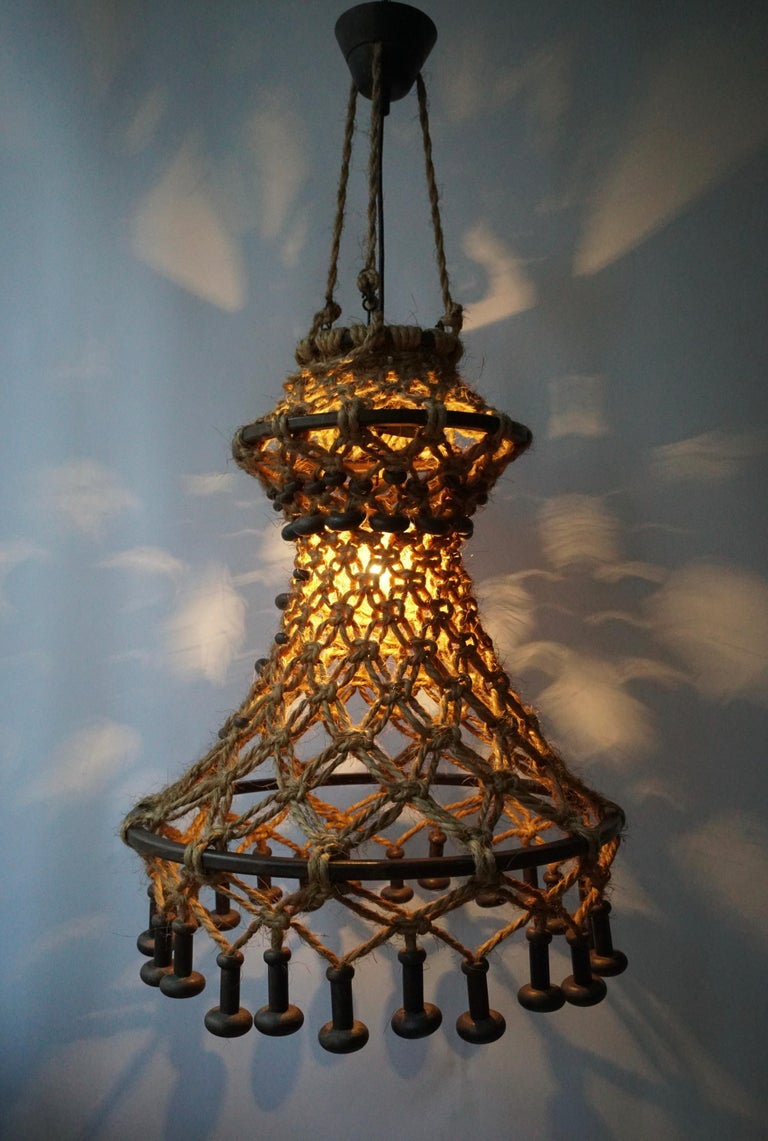 Hand Knotted Chandelier with Natural Rope and Wood For Sale 2