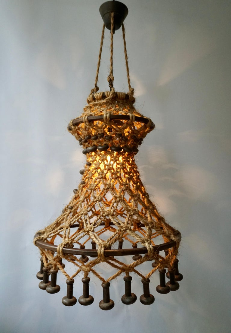 Hand Knotted Chandelier with Natural Rope and Wood For Sale 3
