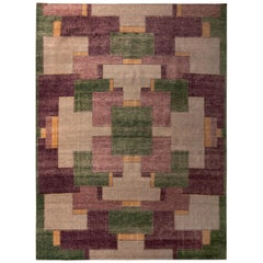 Hand Knotted Classic Geometric Rug Purple Green Pattern by Rug & Kilim