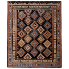 Rug & Kilim's Hand Knotted Classic Rug Diamond Beige and Blue Tribal Pattern