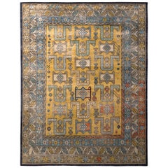 Hand Knotted Classic Rug Gold Blue Geometric Pattern by Rug & Kilim
