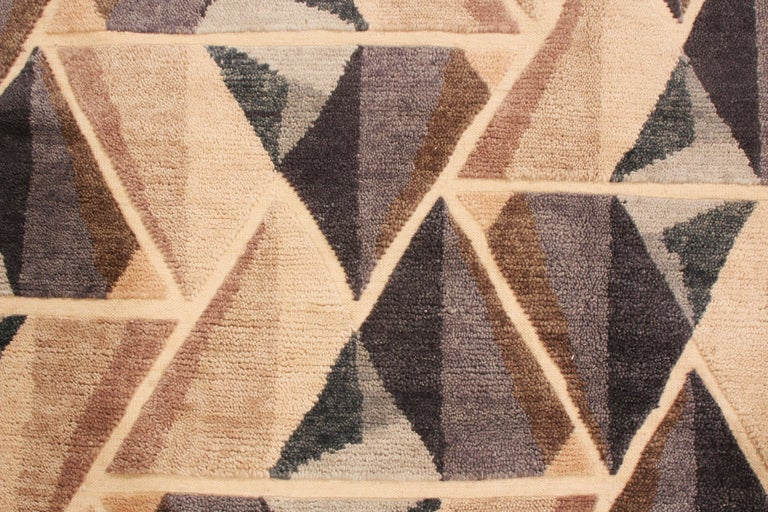 Indian Hand Knotted Contemporary Geometric Beige and Gray Wool Rug