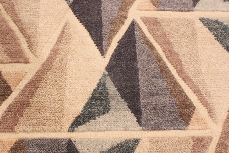 Hand-Knotted Hand Knotted Contemporary Geometric Beige and Gray Wool Rug