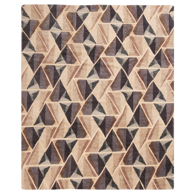 Hand Knotted Contemporary Geometric Beige and Gray Wool Rug