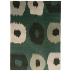 Hand Knotted Contemporary Green White Rug Ikats Pattern by Rug & Kilim