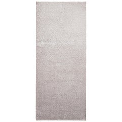 Hand Knotted Contemporary Rug in Gray Textural Geometric Pattern