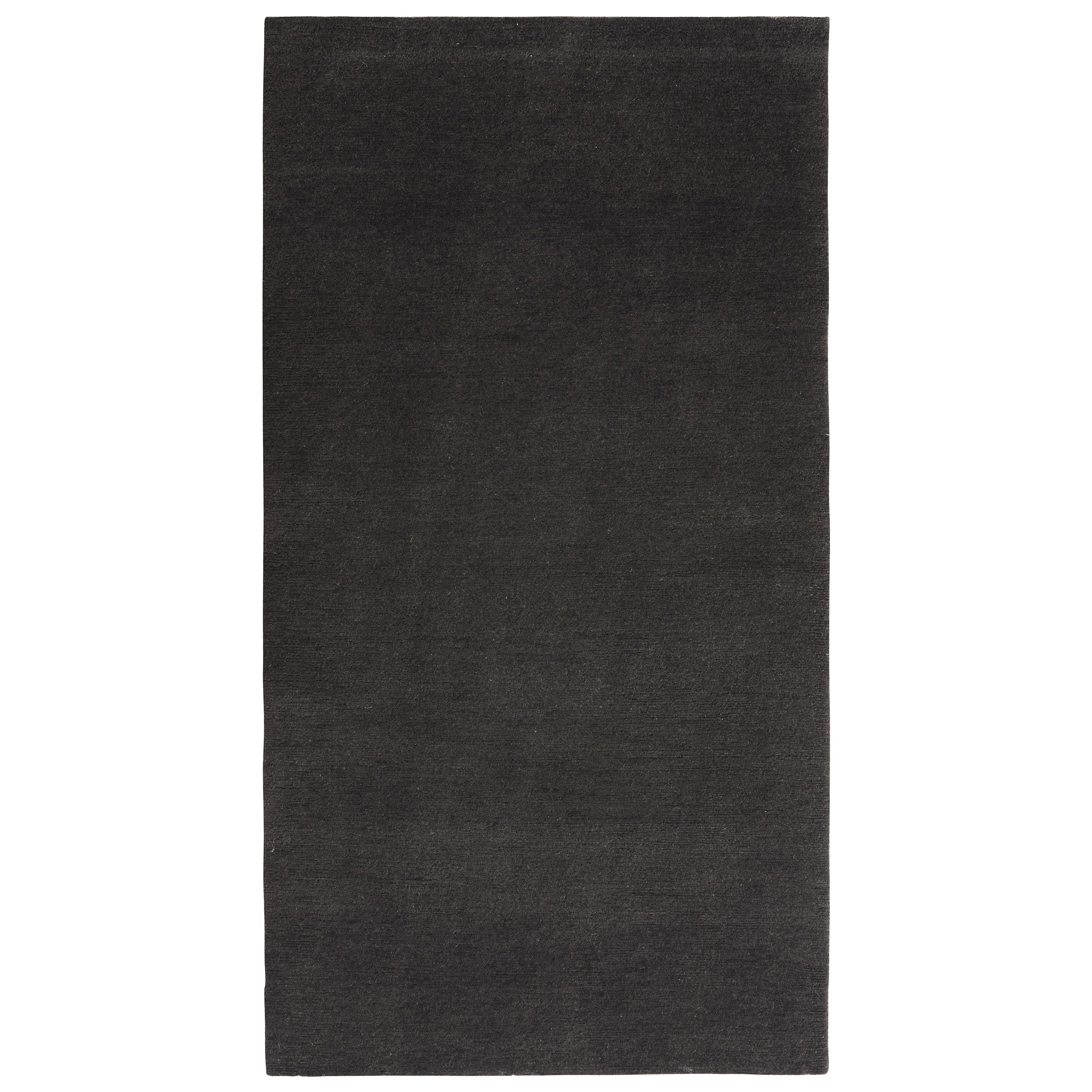 Hand Knotted Contemporary Solid Black Runner Rug