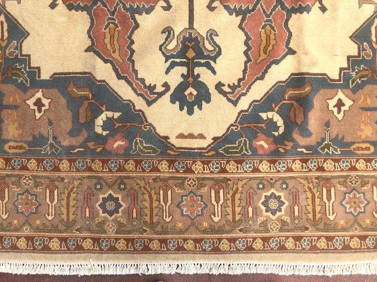 Hand Knotted Cream Blue Geometric Chinese Rug For Sale 5