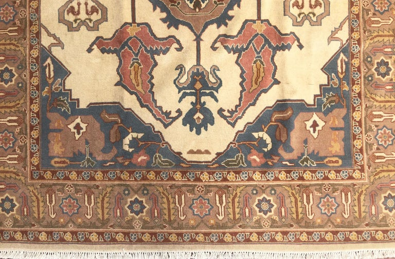 Hand Knotted Cream Blue Geometric Chinese Rug For Sale 6