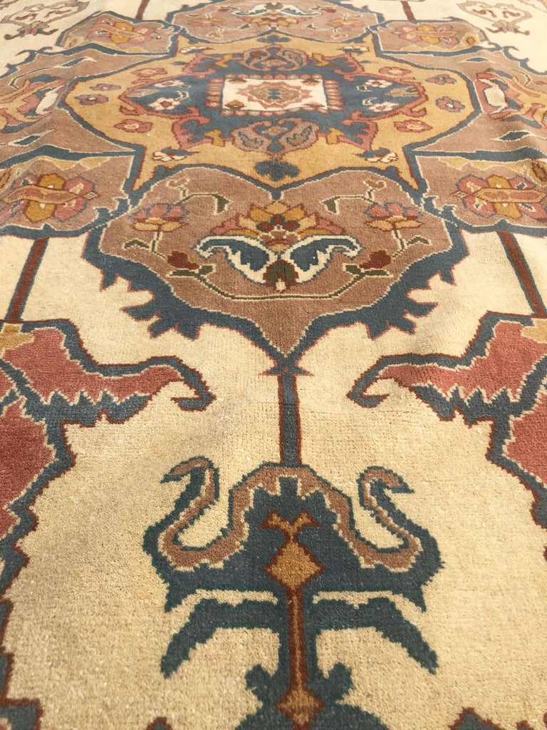 Hand Knotted Cream Blue Geometric Chinese Rug For Sale 7