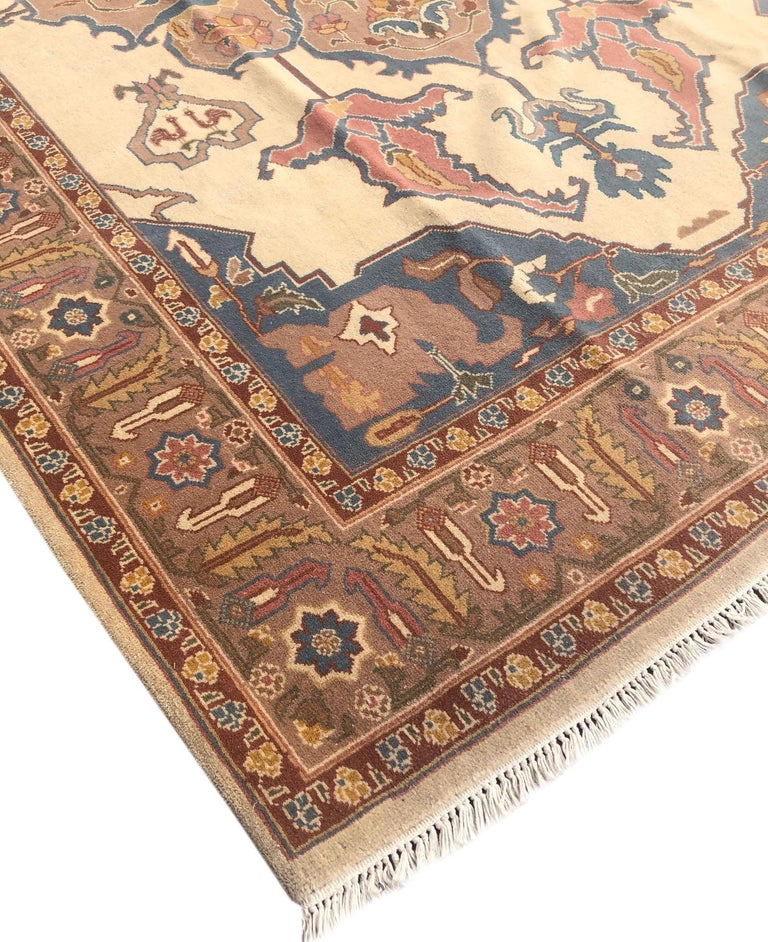 Hand Knotted Cream Blue Geometric Chinese Rug For Sale 10