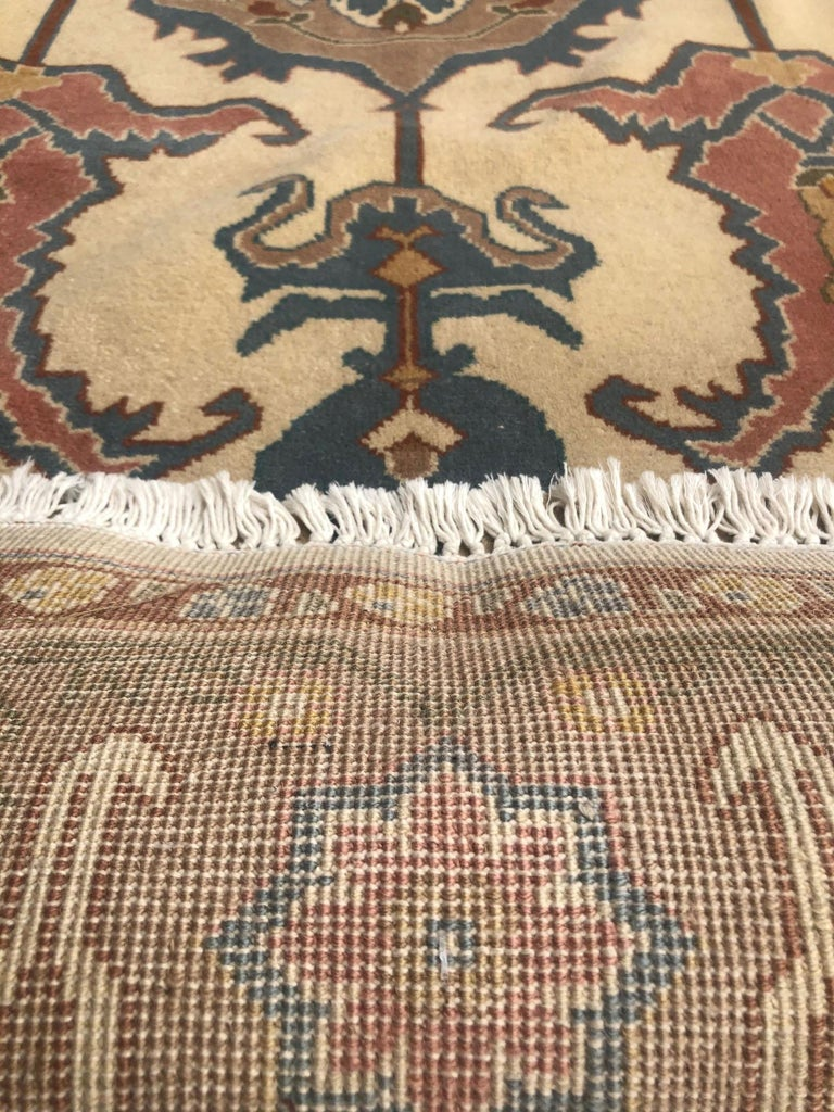 Hand Knotted Cream Blue Geometric Chinese Rug For Sale 11