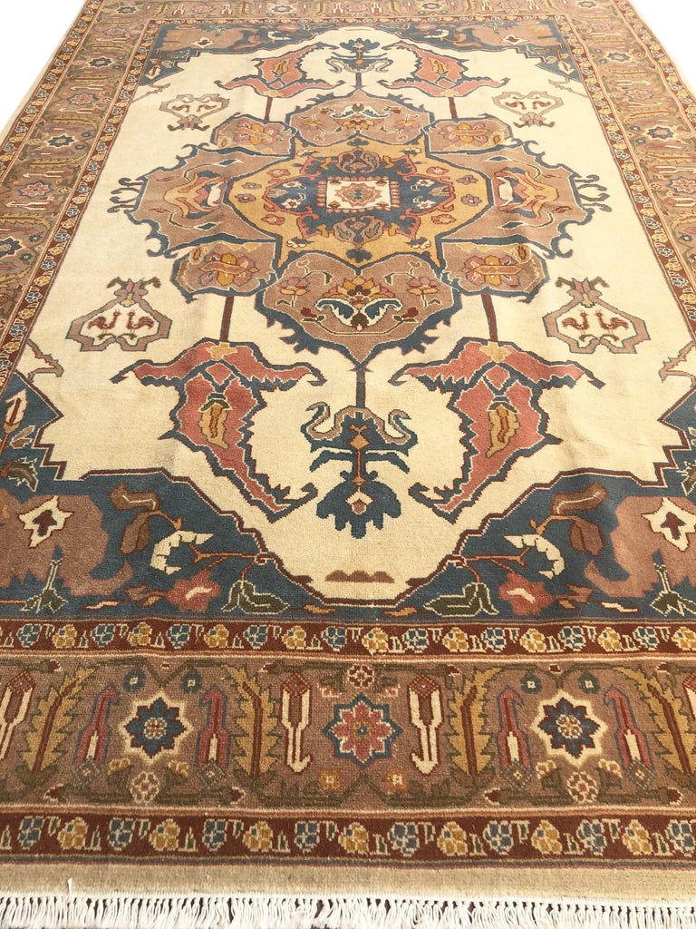 Hand-Knotted Hand Knotted Cream Blue Geometric Chinese Rug For Sale