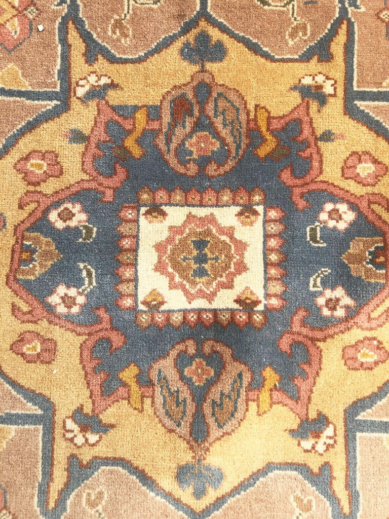 Hand Knotted Cream Blue Geometric Chinese Rug In Good Condition For Sale In San Diego, CA