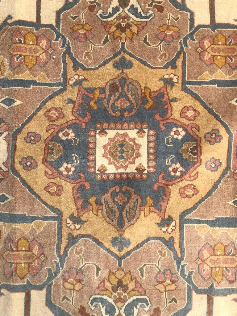Contemporary Hand Knotted Cream Blue Geometric Chinese Rug For Sale