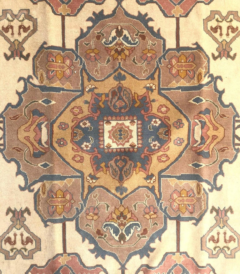 Wool Hand Knotted Cream Blue Geometric Chinese Rug For Sale