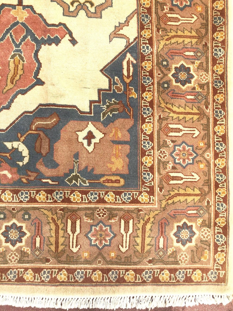 Hand Knotted Cream Blue Geometric Chinese Rug For Sale 2