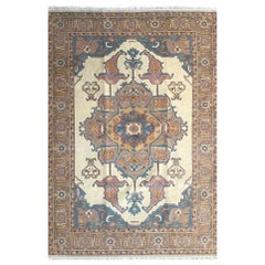 Hand Knotted Cream Blue Geometric Indian Rug