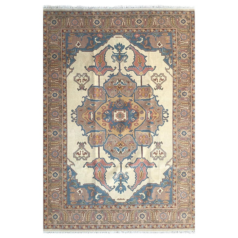 Hand Knotted Cream Blue Geometric Chinese Rug For Sale