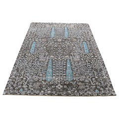 "Hand-Knotted Cypress Tree Design Silk with Oxidized Wool Oriental Rug, 4'1""x6'1"""