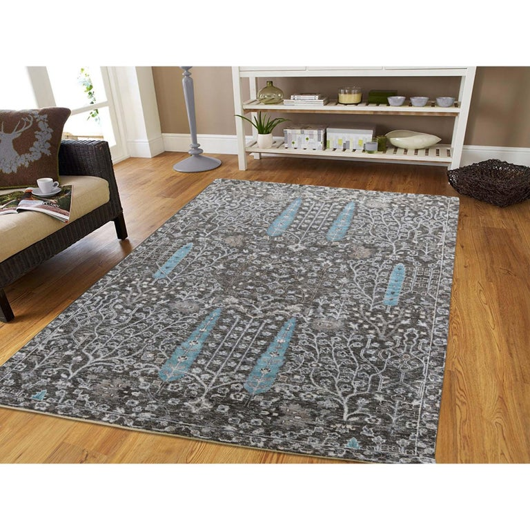 This is a truly genuine one-of-a-kind hand-knotted cypress tree design silk with oxidized wool textured Oriental rug. It has been knotted for months and months in the centuries-old Persian weaving craftsmanship techniques by expert artisans.