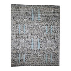 Hand Knotted Cypress Tree Design Silk with Oxidized Wool Oriental Rug