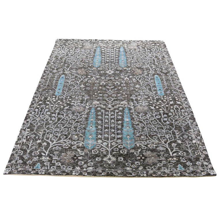 Hand-Knotted Cypress Tree Design Silk with Oxidized Wool Oriental Rug For Sale