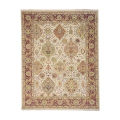 Hand Knotted Dense Weave 300 Kpsi Mughal Design Oriental Rug