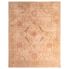 Hand Knotted Distressed Floral Rug Beige Pink Classic Pattern by Rug & Kilim