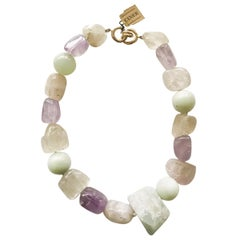 Hand Knotted Eclectic Semi Precious Bead Necklace