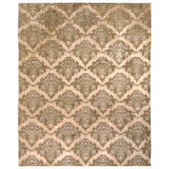Hand Knotted European Floral Rug Beige Green Custom Pattern by Rug & Kilim