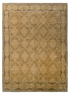 Hand Knotted European Style Rug Beige Green Floral Trellis Pattern, Rug & Kilim