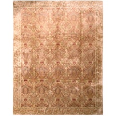 Hand Knotted European-Style Rug Beige Pink and Green Silk Floral Pattern